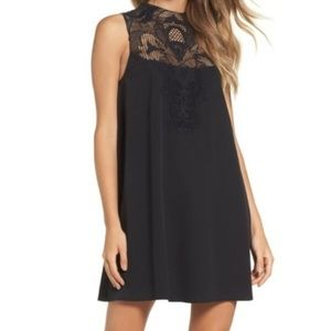 Black high neck lace swing dress